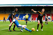 St Johnstone midfielder Blair Alston (#4) slips under pressure from Partick Thistle midfielder Abdul Osman (#6) during the Betfred Scottish Cup match between St Johnstone and Partick Thistle at McDiarmid Stadium, Perth, Scotland on 8 August 2017. Photo by Craig Doyle.