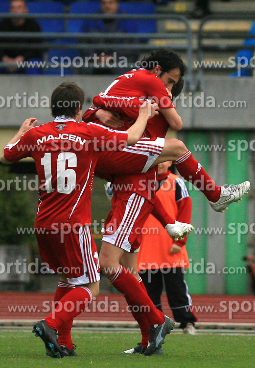 Players of Interblock celebrate at 29th Round of Slovenian First League football match between NK Interblock and NK Primorje at ZAK Stadium, on April 20, 2009, in Ljubljana, Slovenia. (Photo by Vid Ponikvar / Sportida)