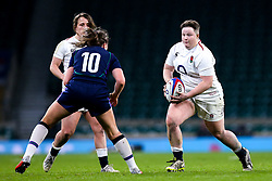 Hannah Botterman of England Women takes on Helen Nelson of Scotland Women - Mandatory by-line: Robbie Stephenson/JMP - 16/03/2019 - RUGBY - Twickenham Stadium - London, England - England Women v Scotland Women - Women's Six Nations
