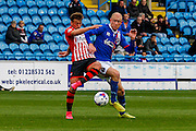 Carlisle United Midfielder Jason Kennedy and Exeter City Midfielder Lee Holmes battle during the Sky Bet League 2 match between Carlisle United and Exeter City at Brunton Park, Carlisle, England on 17 October 2015. Photo by Craig McAllister.