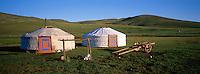 Nomads camp. Snake valley. Arkhangai province. Mongolia. // Mongolie. Province de l'Arkhangaï. Vallée du Serpent. Campements nomades.