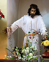 A sorrowful statue of Christ at the church of Santa Maria de la Asuncion in Tule, Mexico.