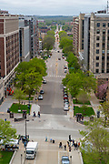 High angle view of Madison, Wisconsin and West Washington Avenue, taken from the Wisconsin State Capitol Observation Deck.