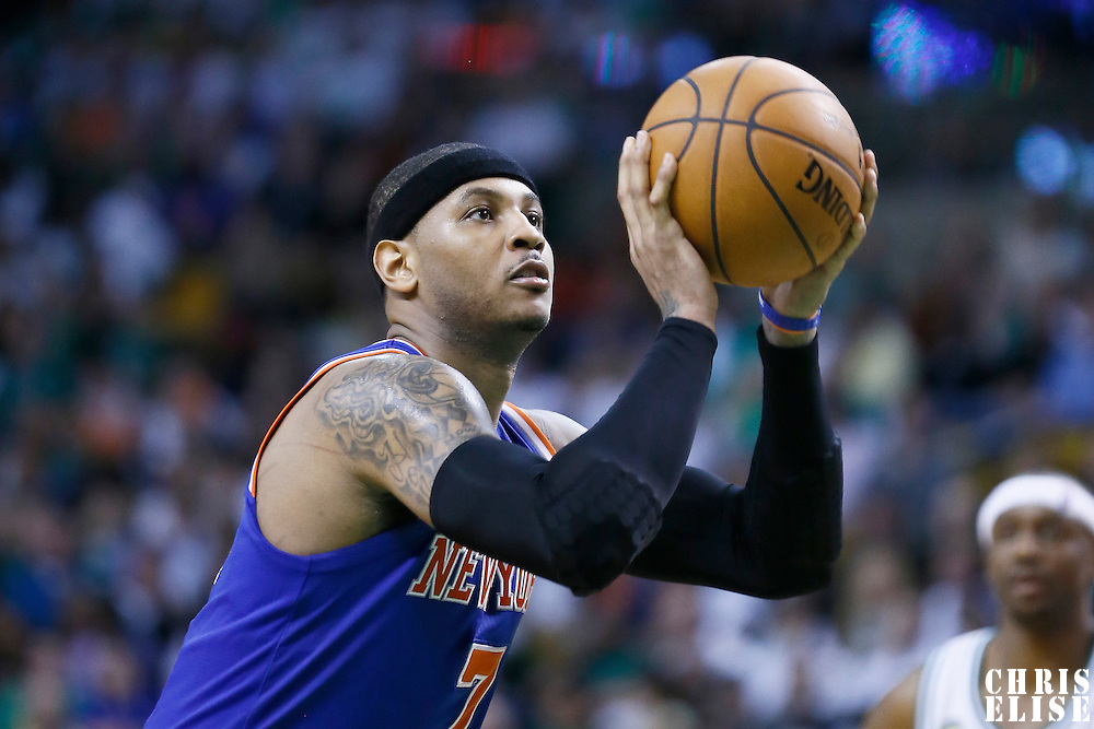 28 April 2013: New York Knicks small forward Carmelo Anthony (7) is seen at the free throw line during Boston Celtics 97-90 overtime victory over the New York Knicks during Game Four of the Eastern Conference Quarterfinals of the 2013 NBA Playoffs at the TD Garden, Boston, Massachusetts, USA.