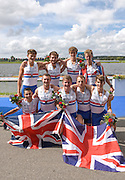 Rotterdam. Netherlands. GBR JM8+,  Charlie Pearson, Oskar Arzt-Jones, Dom Jackson, Oliver Ayres, Patrick Adams , Benedict Aldous, Seb Benzecry, Felix Drinkall and cox Vlad Saigau 2016 JWRC, U23 and Non Olympic Regatta. {WRCH2016}  at the Willem-Alexander Baan.   Sunday 28/08/2016 <br /> <br /> [Mandatory Credit; Peter SPURRIER/Intersport Images]