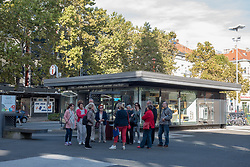 Visitors on a guided tour through old town in Maribor, Slovenia on 27th of September.  Photo by Milos Vujinovic / Sportida