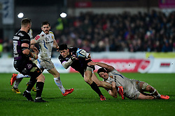 Louis Rees-Zammit of Gloucester Rugby is tackled by Sam Simmonds of Exeter Chiefs - Mandatory by-line: Ryan Hiscott/JMP - 14/02/2020 - RUGBY - Kingsholm - Gloucester, England - Gloucester Rugby v Exeter Chiefs - Gallagher Premiership