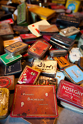 © Licensed to London News Pictures. 24/02/2012. LONDON, UK. Old tobacco tins, collected by singer Pete Doherty, are seen at an exhibition in Camden today (24/02/12). The exhibition entitled 'On Blood: A Portrait of an Artist', held at the Cob Gallery in Camden and set to run between the 26th of February and the 4th of March, features works and collections by the former Libertines lead singer. Photo credit: Matt Cetti-Roberts/LNP
