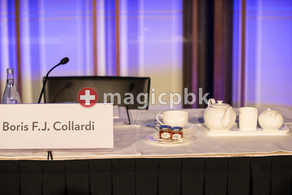 The place of Boris F.J. Collardi, Chief Executive Officer (CEO), for the press conference on the fourth quarter and full-year results 2014 of Julius Baer Group Ltd. held at the Hotel Widder in Zuerich, Switzerland, on Monday, 2 February 2015. (Photo by Patrick B. Kraemer / MAGICPBK)