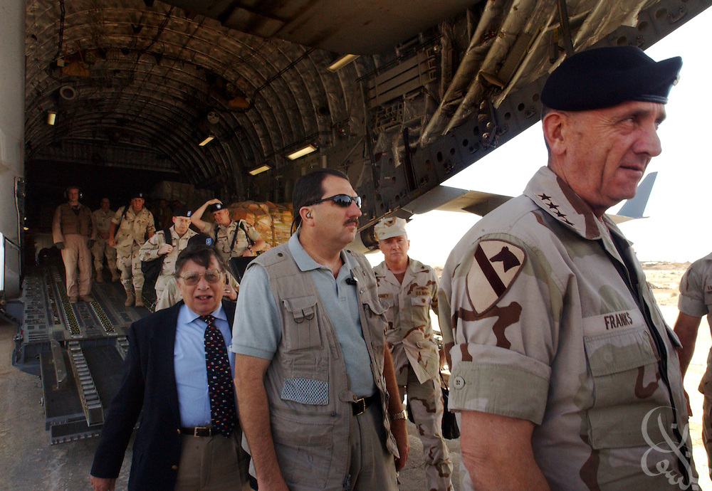 U.S. Commander of Central Command, Gen. Tommy Franks arrives for a May 15, 2002 visit to Kandahar airbase in southern Afghanistan. Franks stopped at the base to personally address the troops deployed there as part of Operation Enduring Freedom.