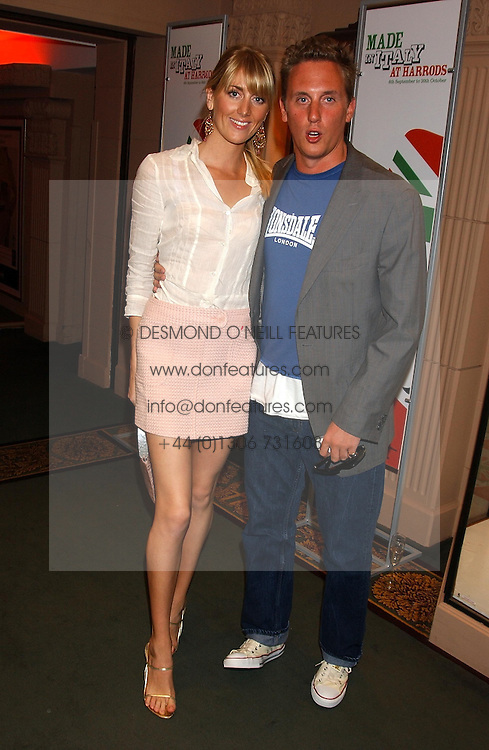 HARRY BECHER and LADY EMILY COMPTON at a party to celebrate 'Made in Italy at Harrods' - a celebration of Italian fashion food and wine, design and interiors, art and photography, cinema and music, beauty and glamour.  The party was held in the Georgian Restaurant at Harrods, Knightsbridge, London on 9th September 2004.<br />