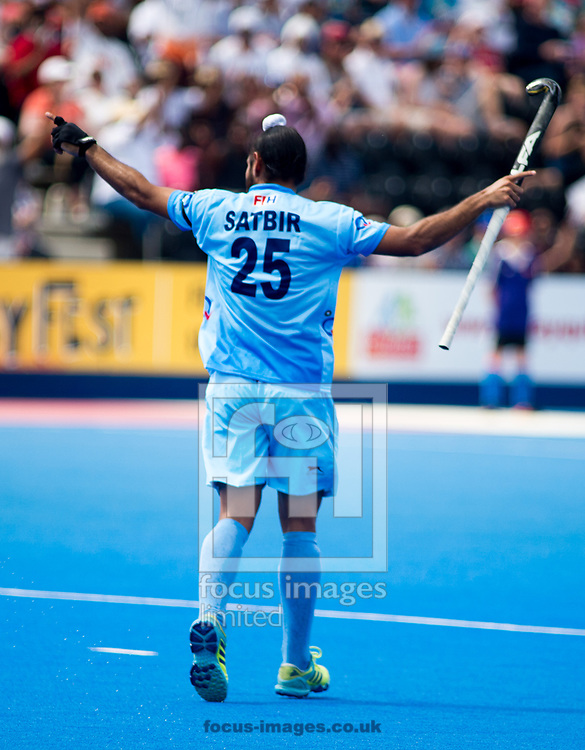 Satbir Singh of India celebrating a goal on day four of the Men's Hero Hockey World League Semi-Finals at Lee Valley Hockey Centre, Stratford<br /> Picture by Hannah Fountain/Focus Images Ltd 07814482222<br /> 18/06/2017