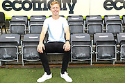 Nathan McGinley signs for Forest Green Rovers at the New Lawn, Forest Green, United Kingdom on 29 August 2018. Picture by Shane Healey.