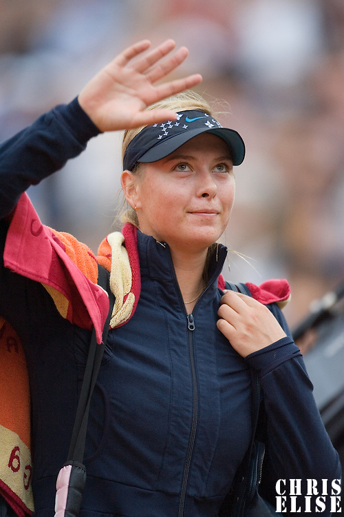03 June 2007: Russian player Maria Sharapova thanks the audience during the French Tennis Open fourth round match, won 3-6, 6-4, 9-7 by Maria Sharapova against Patty Schnyder, on day 8 at Roland Garros, in Paris, France.