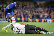 Chelsea defender Fikayo Tomori (29) SPITS on Valencia midfielder Francis Coquelin (17) during the Champions League match between Chelsea and Valencia CF at Stamford Bridge, London, England on 17 September 2019.