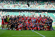 The Saracens players and back room team celebrate on the pitch during the Gallagher Premiership Rugby Final match between Exeter Chiefs and Saracens at Twickenham, Richmond, United Kingdom on 1 June 2019.