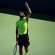 August 30, 2017 - New York, NY : Vaclav Safranek, in yellow, gestures skyward as he competes against Grigor Dimitrov, not visible, in the Grandstand on the third day of the U.S. Open, at the USTA Billie Jean King National Tennis Center in Queens, New York, on Wednesday. <br /> CREDIT : Karsten Moran for The New York Times