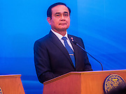 23 JULY 2015 - BANGKOK, THAILAND:   PRAYUTH CHAN-O-CHA, Prime Minister of Thailand, at the podium during joint statements made by the Thai and Vietnamese Prime Ministers at Government house in Bangkok. The Vietnamese Prime Minister and his wife came to Bangkok for the 3rd Thailand - Vietnam Joint Cabinet Retreat. The Thai and Vietnamese Prime Minister discussed issues of mutual interest.    PHOTO BY JACK KURTZ