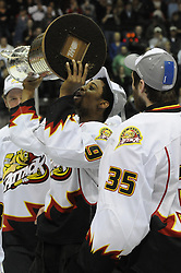 The Owen Sound Attack won the Rogers OHL Championship Series for the Robertson Cup with a 3-2 overtime win in Game 7 against the Mississauga St. Michael's Majors at the Hershey Centre on Sunday May 15, 2011. Photo by Aaron Bell/OHL Images