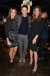 Left to right, JESSICA ENNIS-HILL, EDDIE REDMAYNE and CINDY CRAWFORD at the OMEGA VIP dinner hosted by Cindy Crawford and OMEGA President Mr. Stephen Urquhart held at aqua shard', Level 31, The Shard, 31 St Thomas Street, London, SE1 9RY on 10th December 2014.