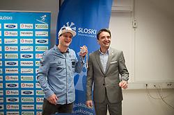 Tim Mastnak of Slovenia, silver medalist at Giant Slalom Snowboard World Championships in Utah, USA with Franci Petek, CEO of Slovenian Ski Association during press conference after arrival in Ljubljana, Slovenia, on February 11, 2019. Photo by Anze Petkovsek / Sportida