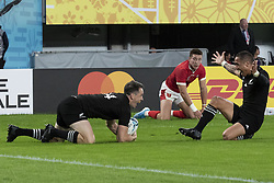 November 1, 2019, Tokyo, Japan: Aaron Smith of New Zealand congratulates to Ben Smith after scoring a try during the Rugby World Cup 2019 Bronze Final between New Zealand and Wales at Tokyo Stadium. New Zealand defeats Wales 40-17. (Credit Image: © Rodrigo Reyes Marin/ZUMA Wire)