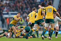 Australia Scrum-Half Nick Phipps in action - Photo mandatory by-line: Rogan Thomson/JMP - 07966 386802 - 29/11/2014 - SPORT - RUGBY UNION - London, England - Twickenham Stadium - England v Australia - QBE Autumn Internationals.