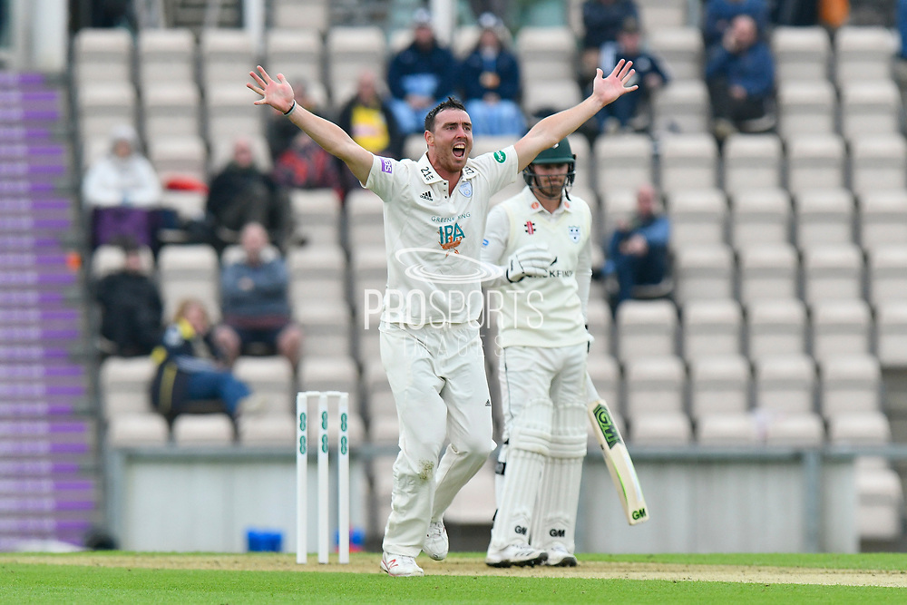 Kyle Abbott of Hampshire appeals for an LBW which is given not out during the Specsavers County Champ Div 1 match between Hampshire County Cricket Club and Worcestershire County Cricket Club at the Ageas Bowl, Southampton, United Kingdom on 13 April 2018. Picture by Graham Hunt.