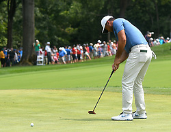 August 12, 2018 - St. Louis, Missouri, U.S. - ST. LOUIS, MO - AUGUST 12: Jason Day putts on the #1 green during the final round of the PGA Championship on August 12, 2018, at Bellerive Country Club, St. Louis, MO.  (Photo by Keith Gillett/Icon Sportswire) (Credit Image: © Keith Gillett/Icon SMI via ZUMA Press)