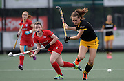 Den Bosch's Jeanne Exterkate challenges with Monkstown's Rosie Carrigan during their opening game of the EHCC 2017 at Den Bosch HC, The Netherlands, 2nd June 2017