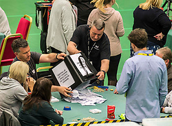 The first ballot boxes from polling stations in the Glenrothes constituency are counted at the Fife counting centre in Glenrothes.<br /> <br /> &copy; Dave Johnston/ EEm