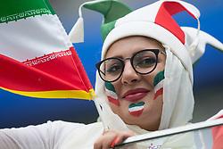 June 15, 2018 - Saint Petersburg, Russia - A female fans of Iran during the 2018 FIFA World Cup Russia group B match between Morocco and Iran at Saint Petersburg Stadium on June 15, 2018 in Saint Petersburg, Russia. (Credit Image: © Foto Olimpik/NurPhoto via ZUMA Press)