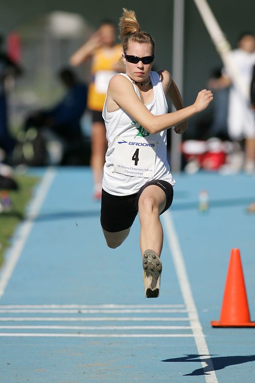 Kaitlen Wilhelm competing in the triple jump at the 2007 Ontario Legion Track and Field Championships. The event was held in Ottawa on July 20 and 21.