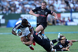 Joe Rocokoco of The Blues during the Super15 match between The Mr Price Sharks and The Blues held at Mr Price Kings Park Stadium in Durban on the 26th February 2011..Photo By:  Ron Gaunt/SPORTZPICS
