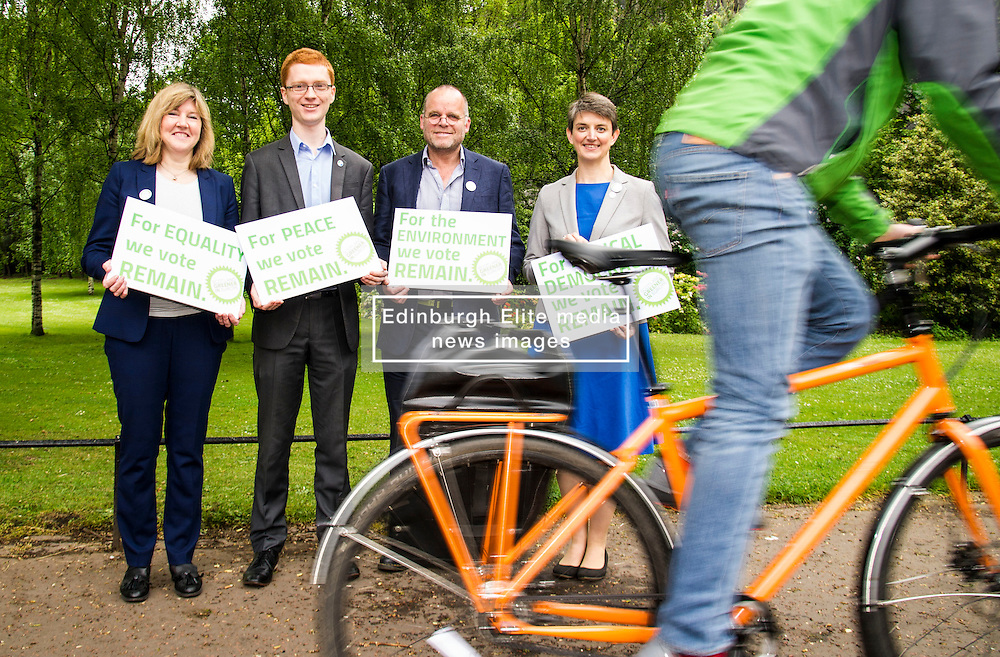 Pictured: Alison Johnstone, Ross Greer, Andy Wightman and Maggie Chapman<br /> <br /> The Scottish Green Party launched their statement on European Referendum today in Edinburgh. MSPs Ross Greer, Andy Wightman, Alison Johnstone were joined by co-convenor Maggie Chapman and activists as they the party's position on the referendum<br /> Ger Harley | EEm 13 June 2016