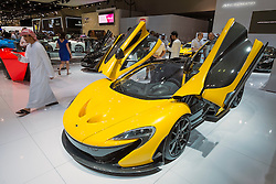 Mclaren P1 supercar hybrid at the Dubai Motor Show 2013 United Arab Emirates