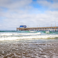 Newport Beach California Pier Panorama Photo. Newport Pier is a popular attraction in Newport Beach California, an affluent coastal beach community along the Pacific Ocean in Orange County Southern California.