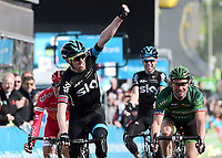 Arrival Sprint, Lars Petter NORDHAUG (Nor) SKY, winner, Thomas VOECKLER (Fra)/ Stephane ROSSETTO (Fra)/ Philip DEIGNAN (Irl)  during the 1th Tour of Yorkshire 2015, in England,  Stage 1, Bridlington - Scarborough (174 Km), on May 1, 2015. Photo Tim de Waele / DPPI