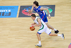 Jaka Lakovic of Slovenia vs Nemanja Bjelica of Serbia during basketball game between National basketball teams of Slovenia and Serbia in 7th place game of FIBA Europe Eurobasket Lithuania 2011, on September 17, 2011, in Arena Zalgirio, Kaunas, Lithuania. (Photo by Vid Ponikvar / Sportida)