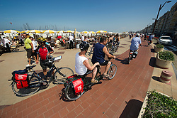 Tourists from Germany enjoy a Boat and Bike tour through Flanders. Tour members depart Knokke, on the Belgian coast, for Sluis, the Netherlands,  on Sunday, July 11, 2010. (Photo © Jock Fistick)