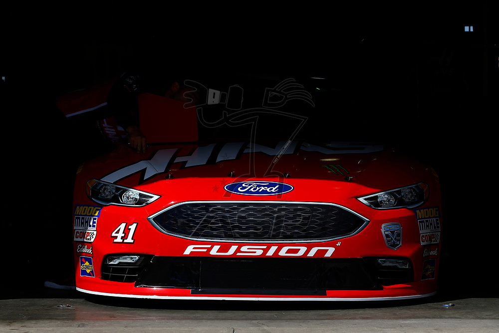March 16, 2018 - Fontana, California, USA: The car of  Kurt Busch (41) sits in the garage before practice for the Auto Club 400 at Auto Club Speedway in Fontana, California.