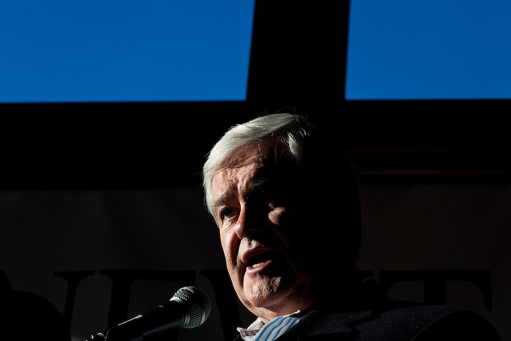 Republican presidential candidate Newt Gingrich holds a campaign meet and greet at Elly's Tea and Coffee on Tuesday, January 3, 2012 in Muscatine, IA.