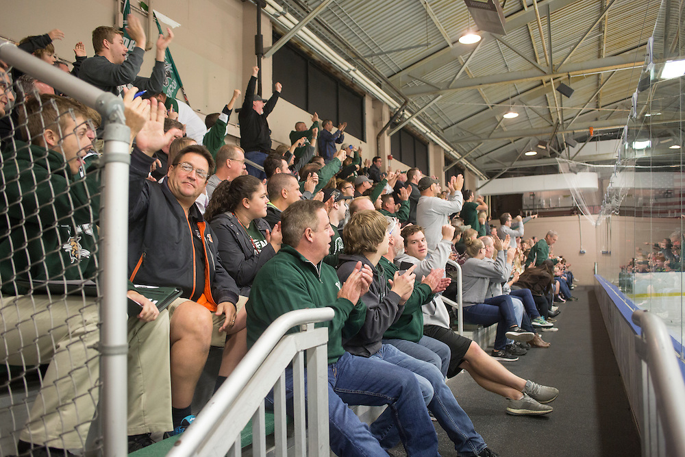 Dads and their kids cheer during the Ohio University vs. University of Michigan - Dearborn hockey game during Dad's Weekend on November 5, 2016.