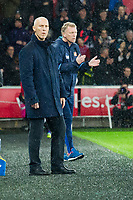 Football - 2016 / 2017 Premier League - Swansea City vs. Stoke City<br /> <br /> Swansea City manager Bob Bradley after swansea score their 1st goal, Sunderland Manager David Moyes encourages his side in background—, at The Liberty Stadium.<br /> <br /> COLORSPORT/WINSTON BYNORTH