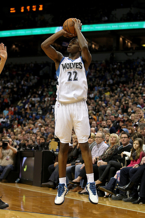 Nov 1, 2014; Minneapolis, MN, USA; Minnesota Timberwolves guard Andrew Wiggins (22) shoots during the third quarter against the Chicago Bulls at Target Center. The Bulls defeated the Timberwolves 106-105. Mandatory Credit: Brace Hemmelgarn-USA TODAY Sports