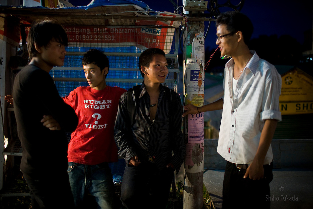 Young Tibetans hang out in McLeod Ganj, Dharamsala, India, where the Dalai Lama settled after fleeing Tibet in 1959 after a failed uprising against Chinese rule, June 1, 2009.