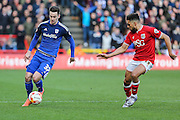 Bristol City defender, Scott Golbourne (13) & Cardiff City striker, Tom Lawrence (37) during the Sky Bet Championship match between Bristol City and Cardiff City at Ashton Gate, Bristol, England on 5 March 2016. Photo by Shane Healey.