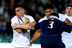 Manu Vunipola of England U20 takes on Euan McLaren of Scotland U20 - Mandatory by-line: Robbie Stephenson/JMP - 15/03/2019 - RUGBY - Franklin's Gardens - Northampton, England - England U20 v Scotland U20 - Six Nations U20