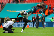 New Orleans Saints Kicker Wil Lutz (3) warms up during the Miami Dolphins vs New Orleans Saints International series match at Wembley Stadium, London, England on 1 October 2017. Photo by Jason Brown.