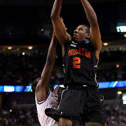 Mar 17, 2011; Tampa, FL, USA; Princeton Tigers forward Kareem Maddox (2) shoots over Kentucky Wildcats guard Doron Lamb (20) during second half of the second round of the 2011 NCAA men's basketball tournament at the St. Pete Times Forum. Kentucky defeated Princeton 59-57.  Mandatory Credit: Derick E. Hingle